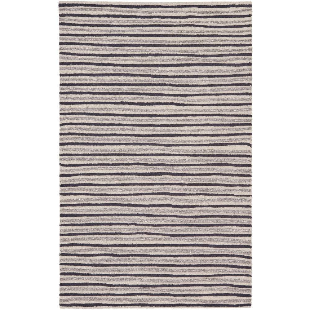 Martha Stewart Hand Drawn Stripe Wampum Purple 5 ft. x 8