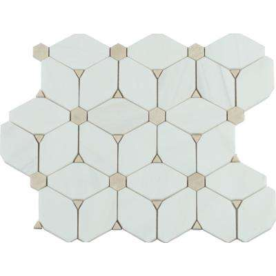 Cecily 11 in. x 13 in. x 10 mm Polished Marble Mesh-Mounted Mosaic Tile