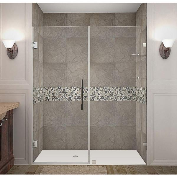 Nautis GS 63 in. x 72 in. Completely Frameless Hinged Shower Door with Glass Shelves in Stainless Steel