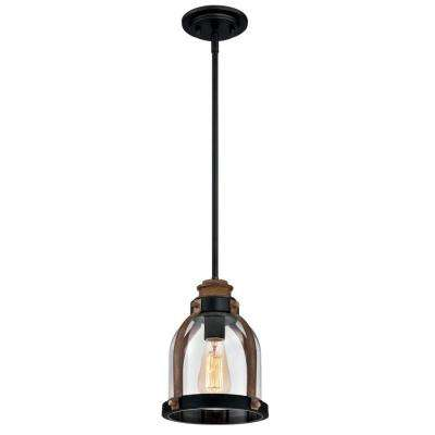 1-Light Oil Rubbed Bronze with Barnwood Mini Pendant