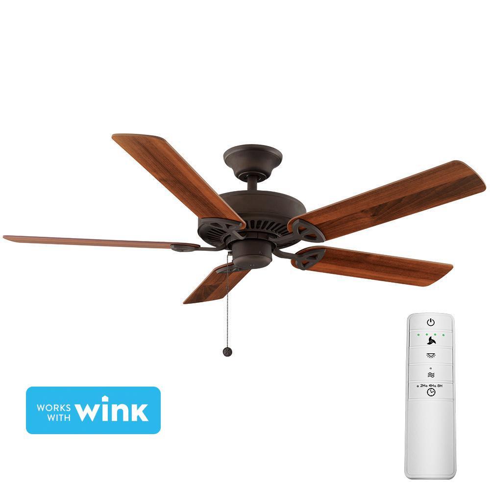 Farmington 52 in. Oil-Rubbed Bronze Smart Ceiling Fan with WINK Remote Control