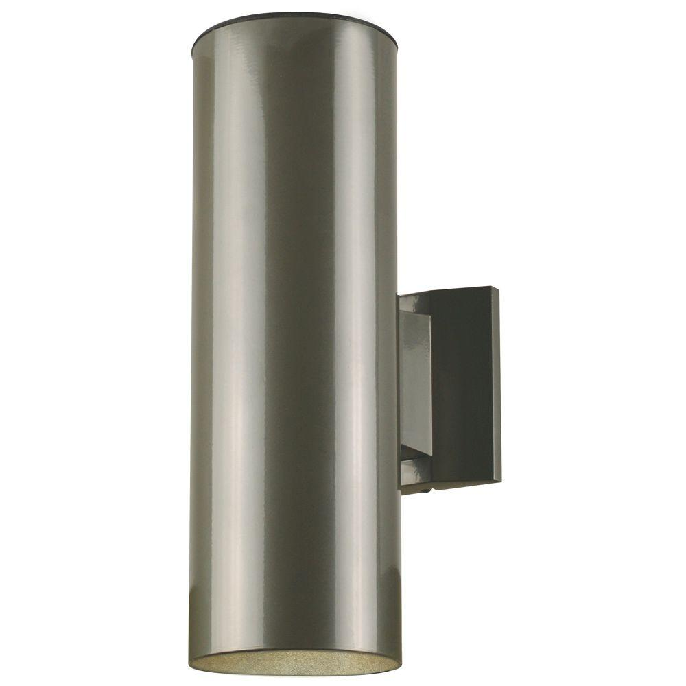 2 Light Polished Graphite On Steel Cylinder Outdoor Wall Fixture