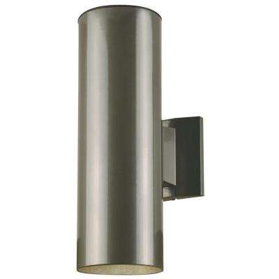 2-Light Polished Graphite on Steel Cylinder Outdoor Wall Lantern Sconce