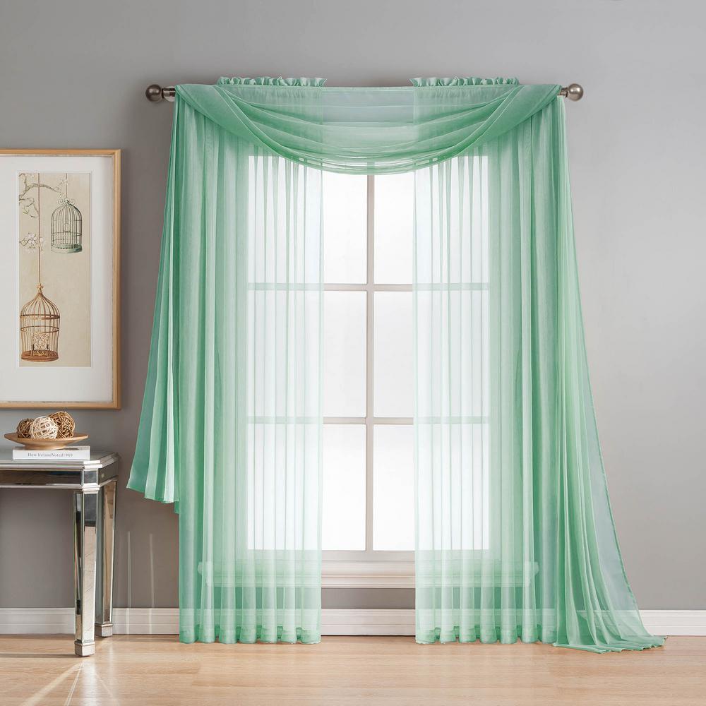 Diamond Sheer Voile 56 in. W x 216 in. L Curtain Scarf in Aqua