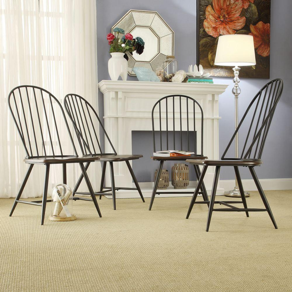 Attirant HomeSullivan New Haven Dark Oak And Black Wood/Metal Windsor Side Chair  (Set Of