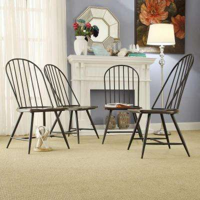 New Haven Dark Oak and Black Wood/Metal Windsor Side Chair (Set of 4)