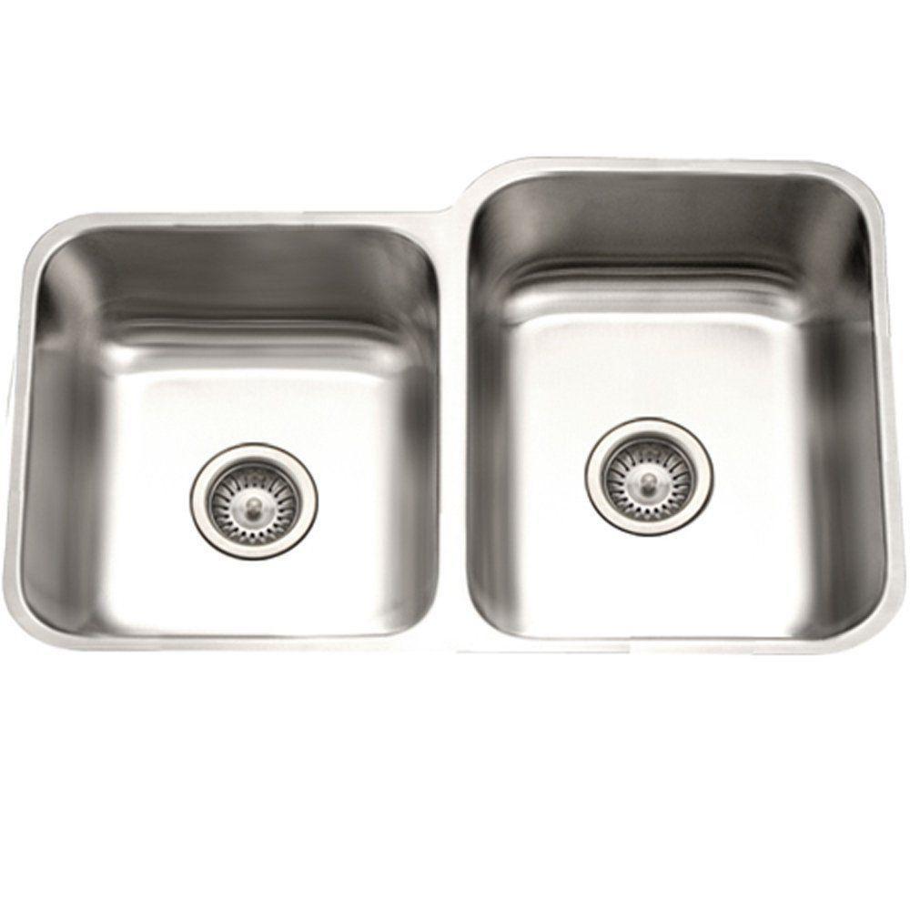 Houzer Eston Series Undermount Stainless Steel 31 In 4060 Double Bowl Kitchen Sink In Satin