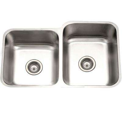 Eston Series Undermount Stainless Steel 31 in. 40/60 Double Bowl Kitchen Sink in Satin
