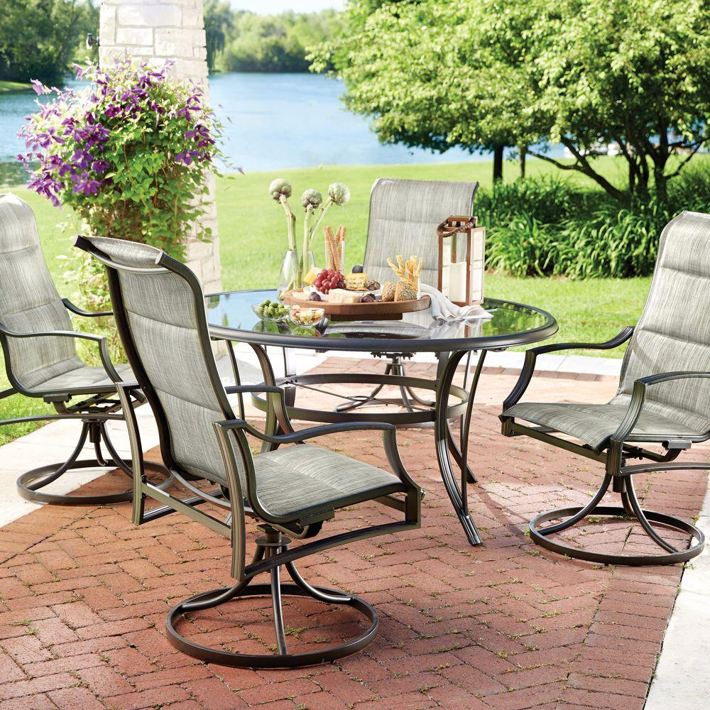 Hampton bay statesville 5 piece padded sling patio dining for Patio furniture table set
