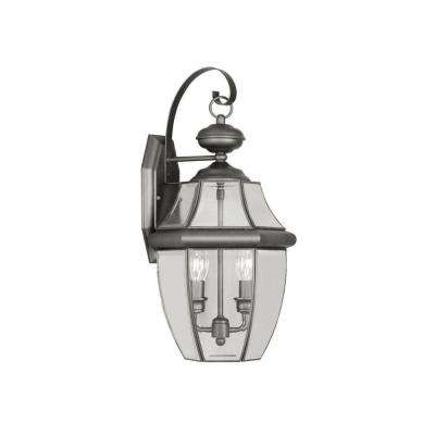 2-Light Black Outdoor Wall Lantern with Clear Beveled Glass