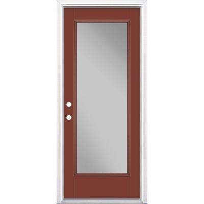 32 in. x 80 in. Full Lite Red Bluff Right-Hand Inswing Painted Smooth Fiberglass Prehung Front Door w/ Brickmold