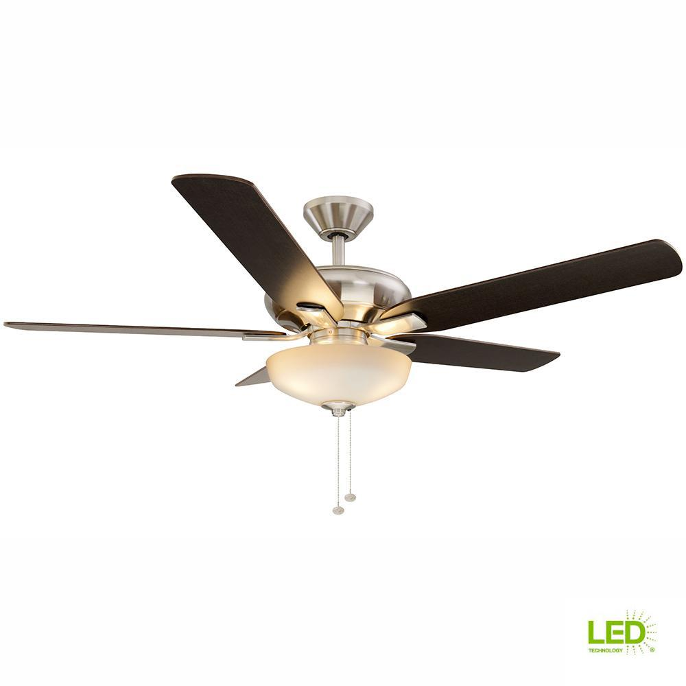 Holly Springs 52 in. LED Indoor Brushed Nickel Ceiling Fan with