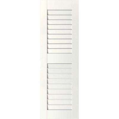 12 in. x 61 in. Exterior Real Wood Pine Louvered Shutters Pair White