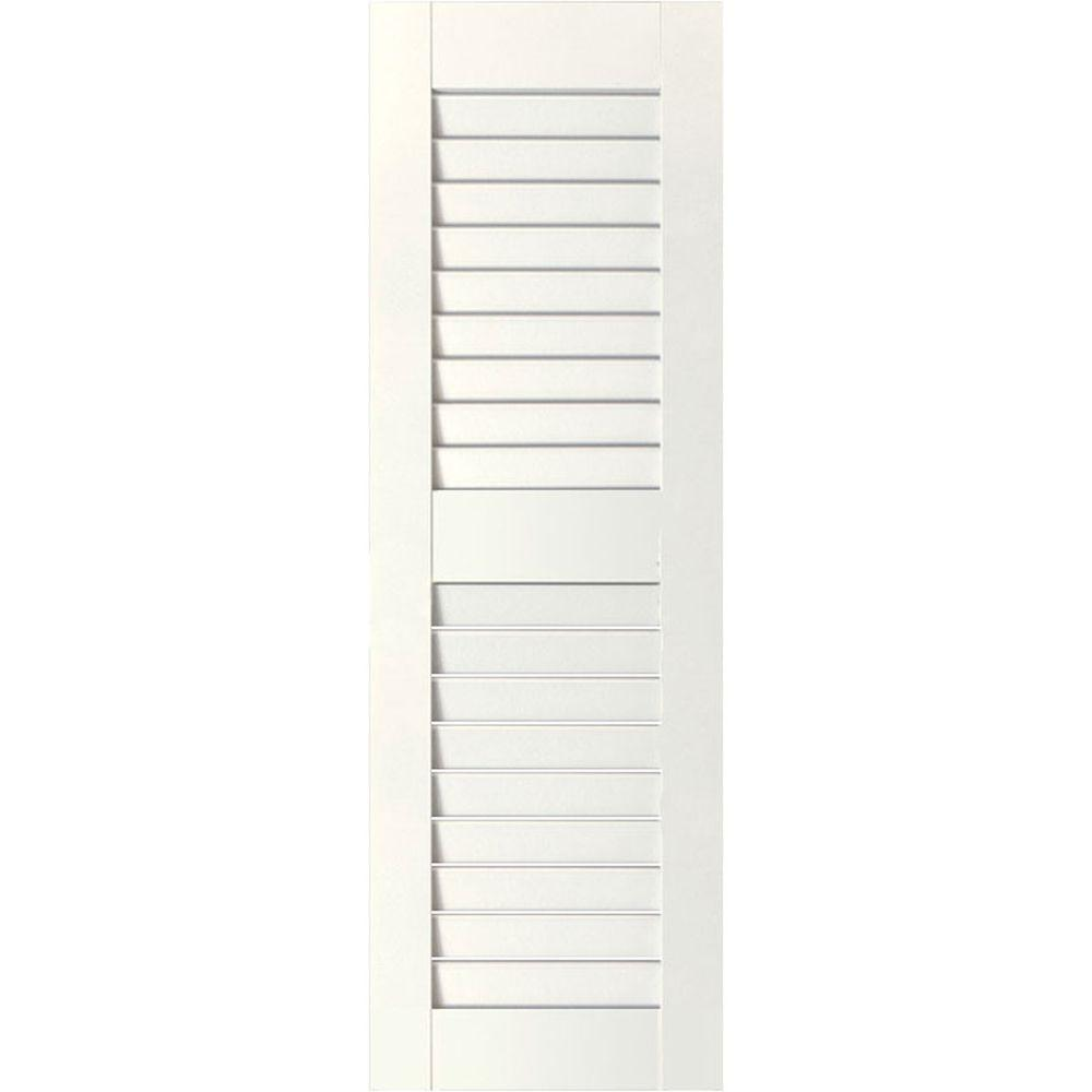 Ekena Millwork 18 in. x 67 in. Exterior Real Wood Sapele Mahogany Louvered Shutters Pair White
