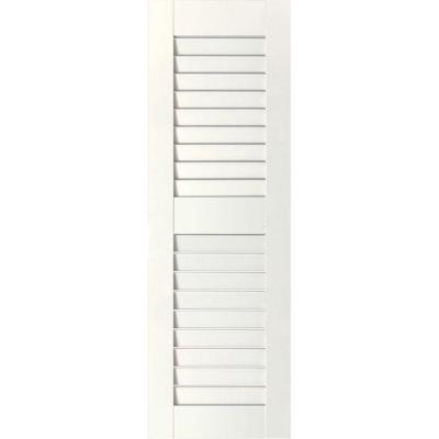 18 in. x 67 in. Exterior Real Wood Sapele Mahogany Louvered Shutters Pair White