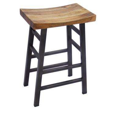Vintage 30 in. Brown Square Bar Stool