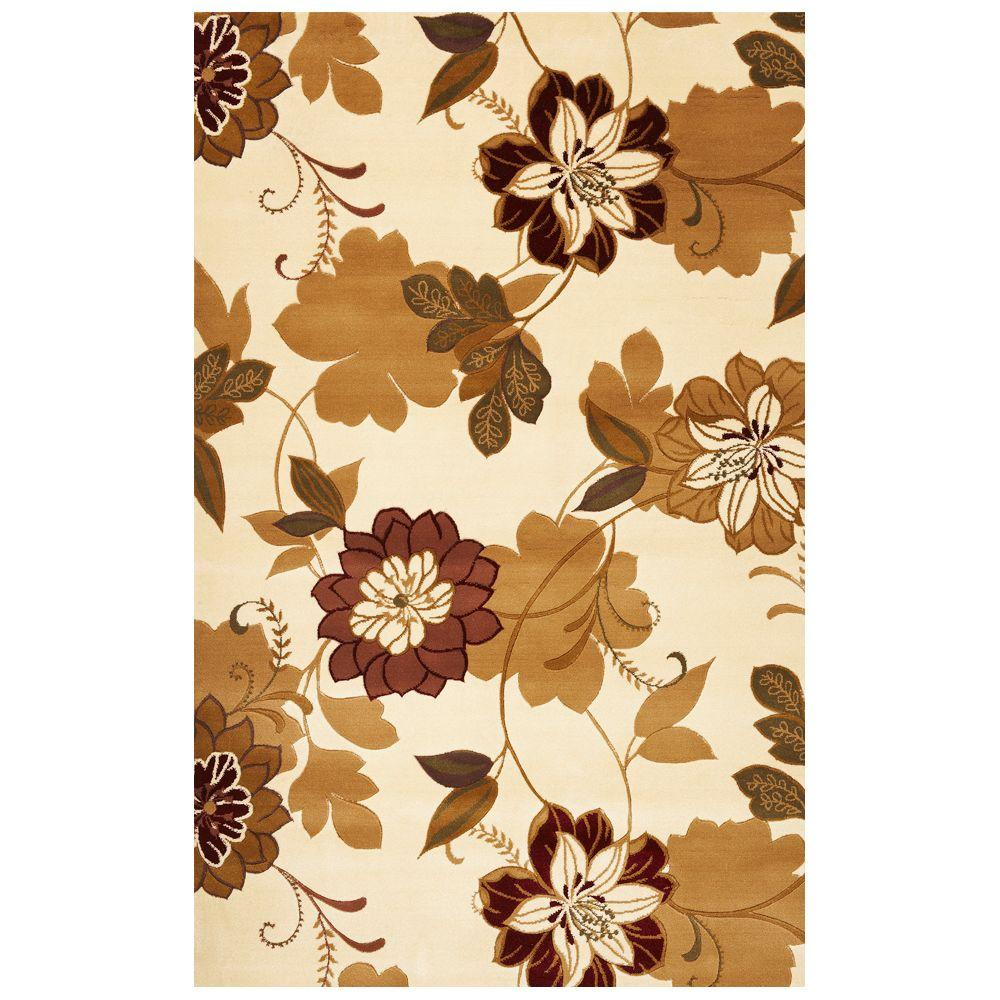Kas Rugs Courtyard Garden Ivory 5 ft. 3 in. x 7 ft. 7 in. Area Rug