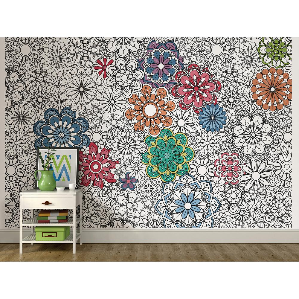 72 in. x 108 in. Marigold Floral Coloring Wall Mural