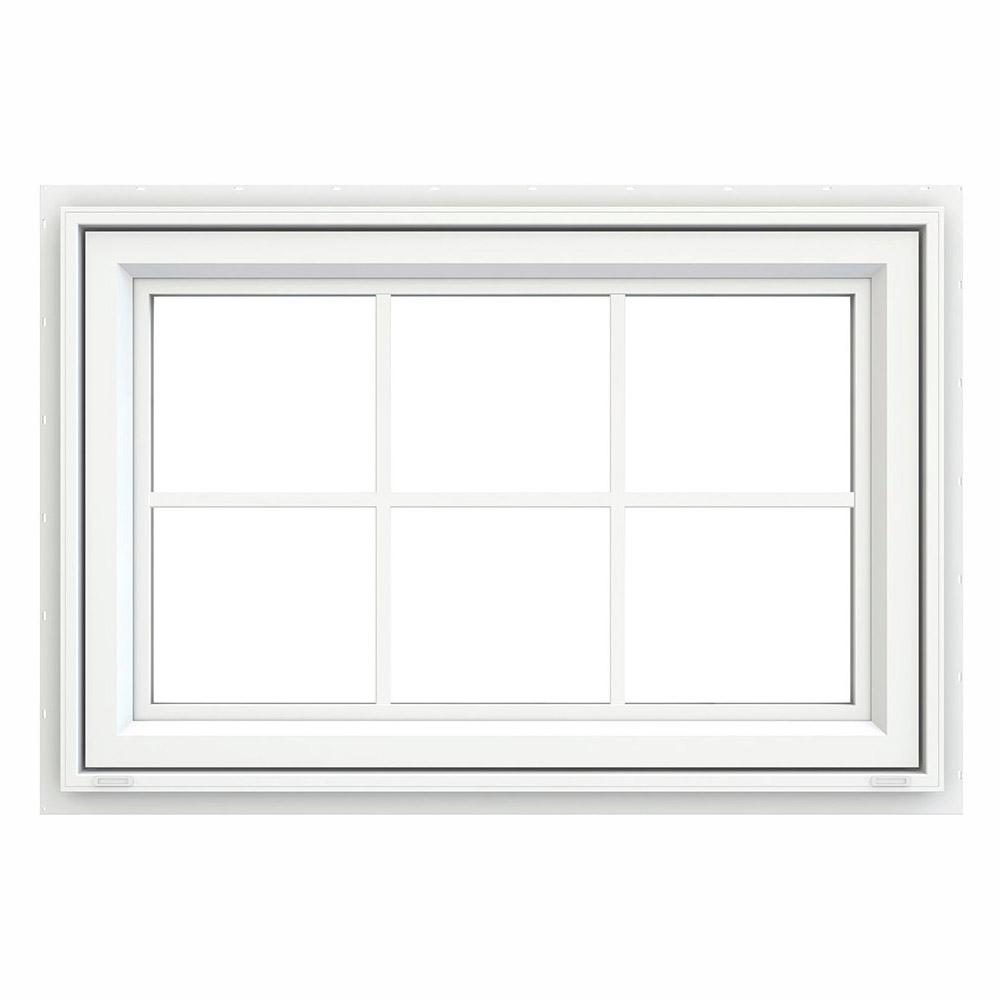JELD-WEN 35.5 in. x 23.5 in. V-4500 Series White Vinyl Awning Window with Colonial Grids/Grilles