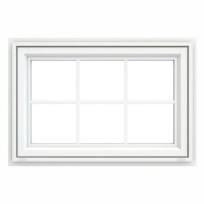 35.5 in. x 23.5 in. V-4500 Series White Vinyl Awning Window with Colonial Grids/Grilles