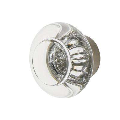 Round Clear Crystal 1-3/8 in. Cabinet Knob in Satin Nickel
