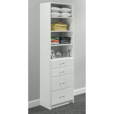 84 in. H x 25.375 in. W White Drawer and Shelving Tower Kit