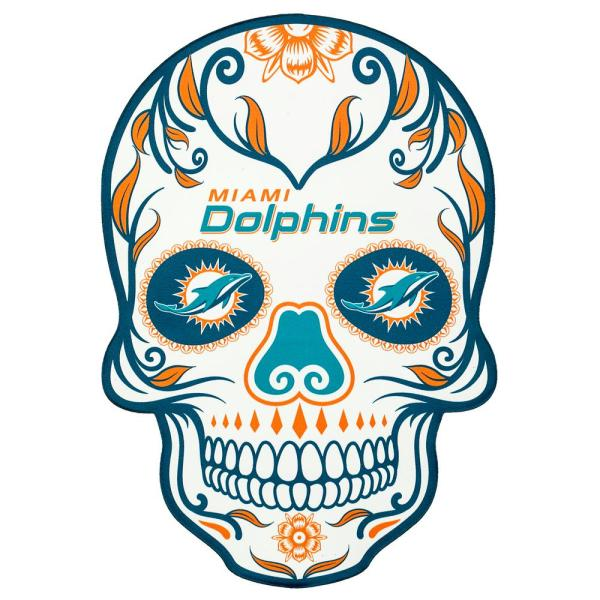 Applied Icon NFL Miami Dolphins Outdoor Skull Graphic- Small