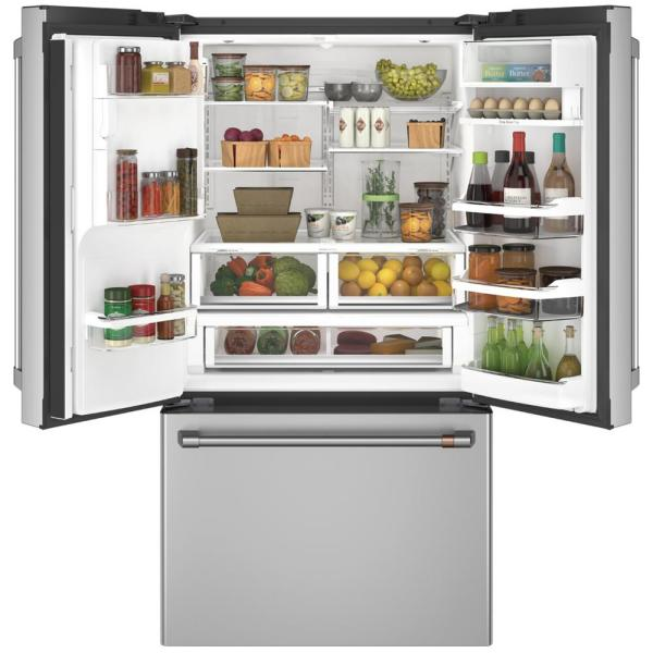 Smart French Door Refrigerator with Hot Water Dispenser in Stainless Steel Cafe CFE28TP2MS1 27.8 cu ft ENERGY STAR