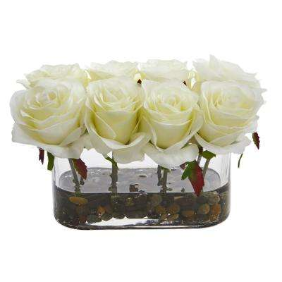 5.5 in. High Blooming White Roses in Glass Vase Artificial Arrangement