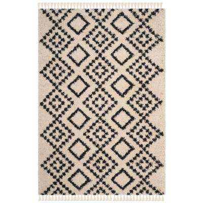 Moroccan Fringe Shag Cream/Charcoal 4 ft. x 6 ft. Area Rug
