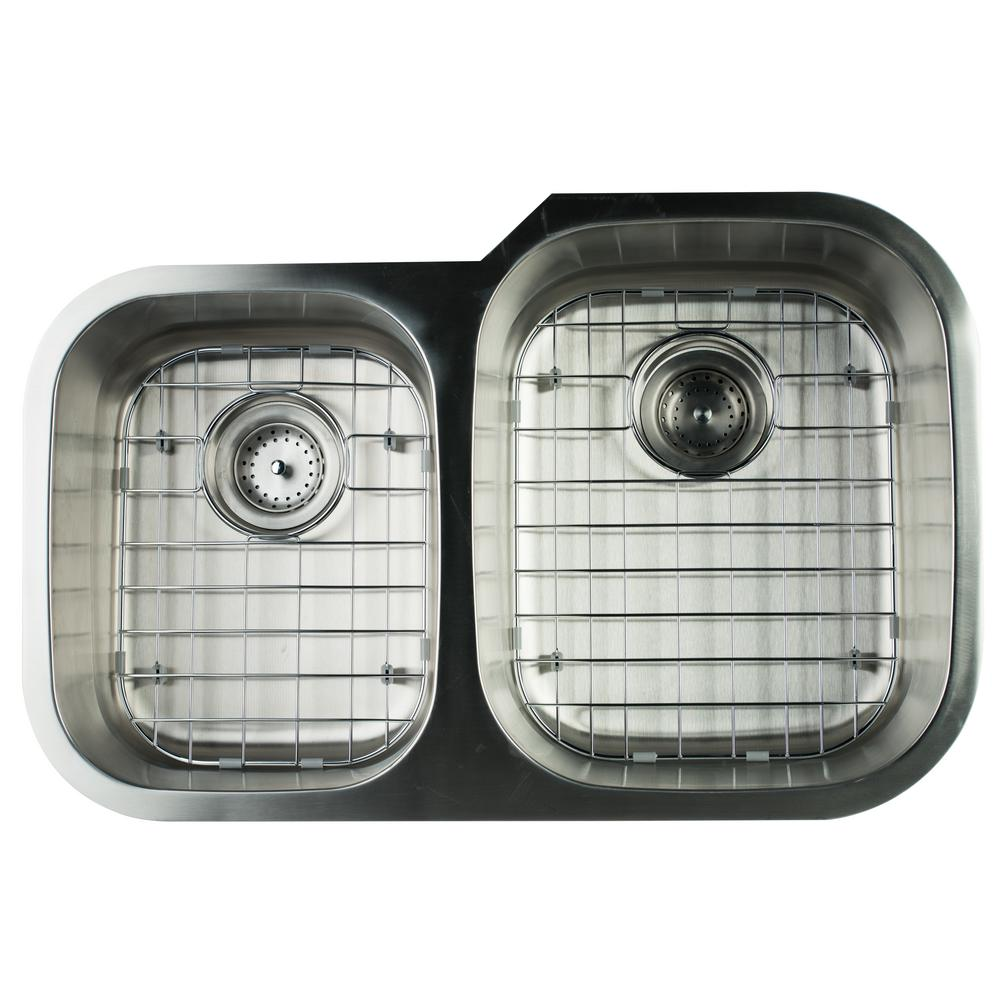 Undermount Stainless Steel 32 in. 0-Hole Double Bowl Kitchen Sink with