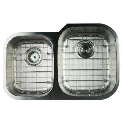 Undermount Stainless Steel 32 in. 0-Hole Double Bowl Kitchen Sink with Grids and Strainer