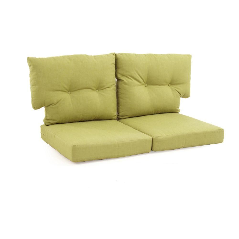 Martha stewart living charlottetown green bean replacement outdoor loveseat cushion 89 55603 Loveseat cushions outdoor