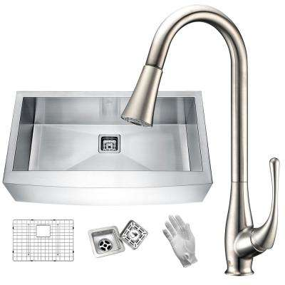 Elysian Farmhouse Stainless Steel 32 in. Single Bowl Kitchen Sink in Satin Finish with Faucet in Brushed Nickel