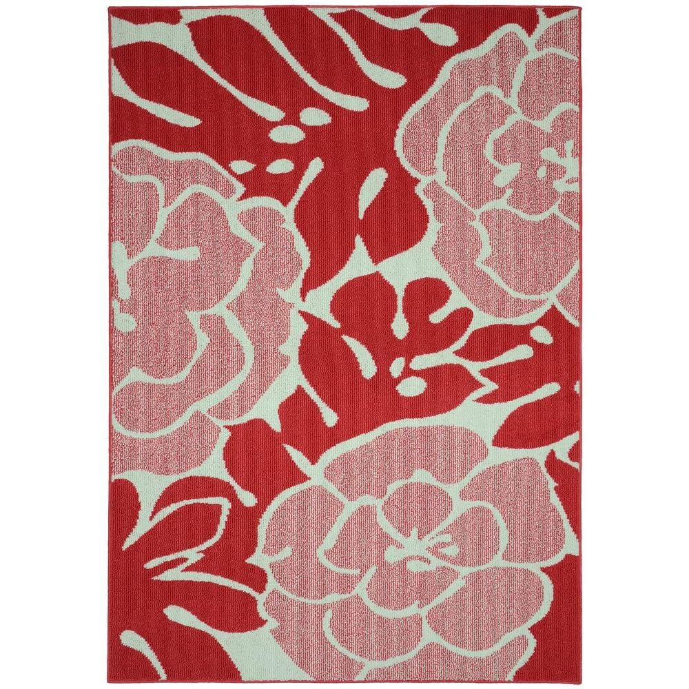 Garland Rug Valencia Santa Fe Coral Ivory 5 Ft X 7 Ft Area Rug Ll490a060084l7 The Home Depot