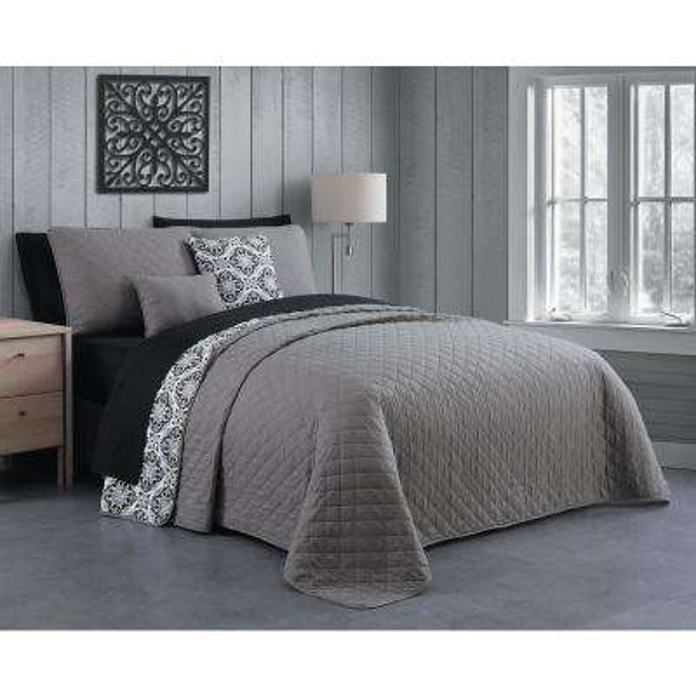 Ailsa 9-Piece Grey King Quilt Set