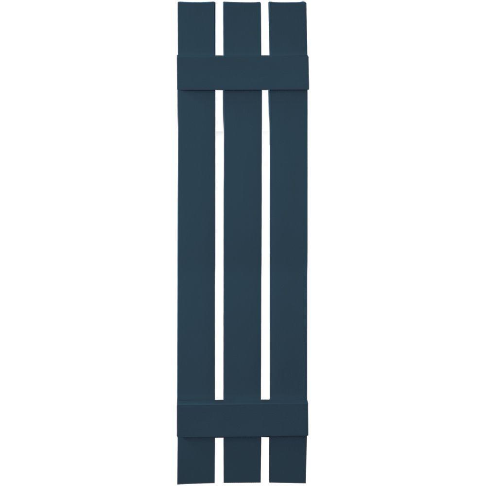 Builders Edge 12 in. x 51 in. Board-N-Batten Shutters Pair, 3 Boards Spaced #036 Classic Blue