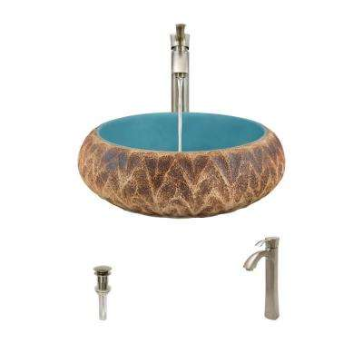 Ceramic Vessel Sink in Tan and Blue with 726 Faucet and Pop-Up Drain in Brushed Nickel