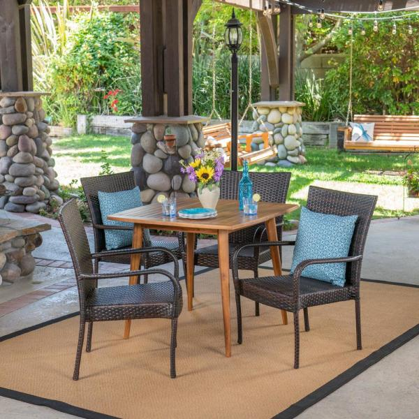 Lagen Multi-Brown 5-Piece Wood and Wicker Outdoor Dining Set