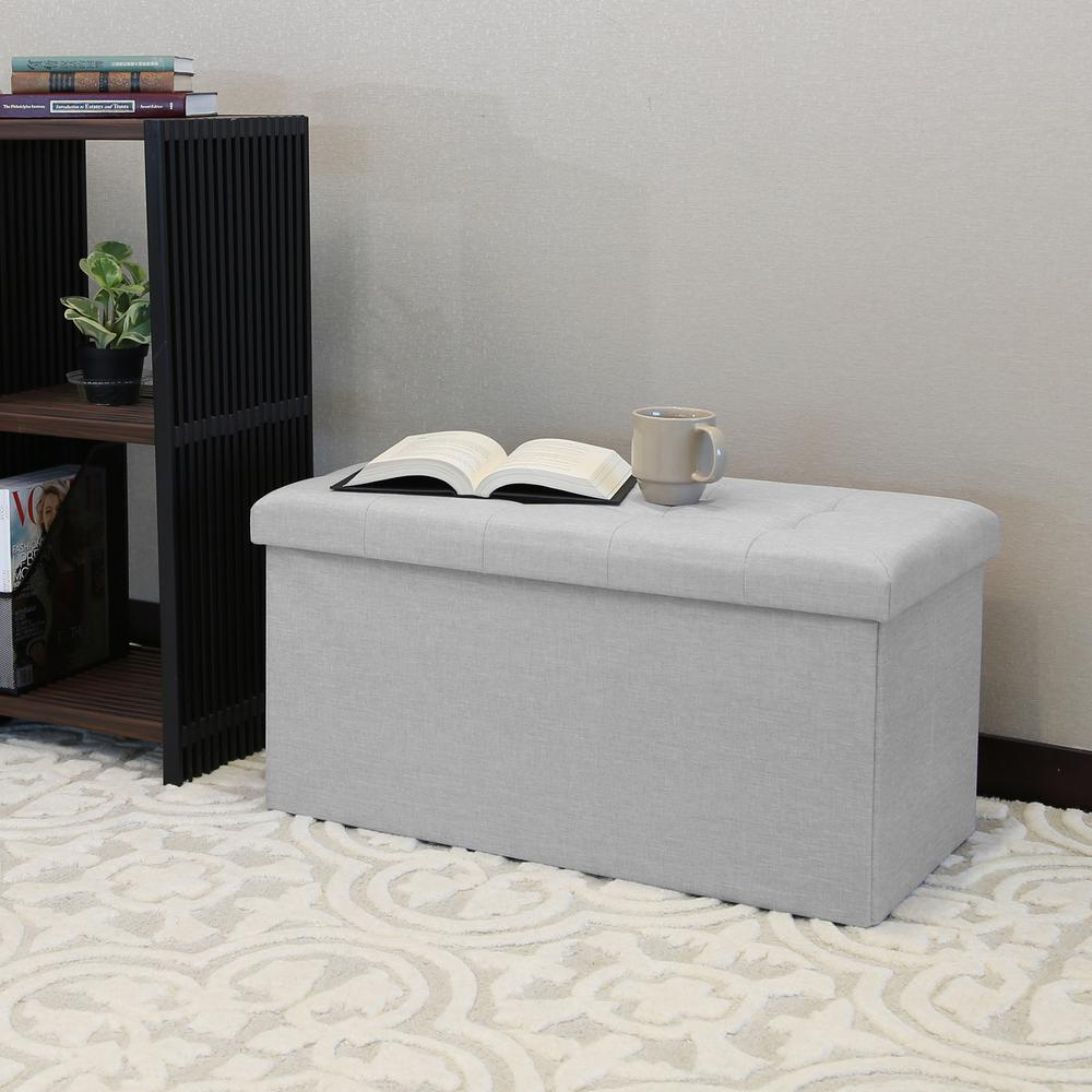 Light Gray Foldable Storage Bench/Footrest/Coffee Table Ottoman