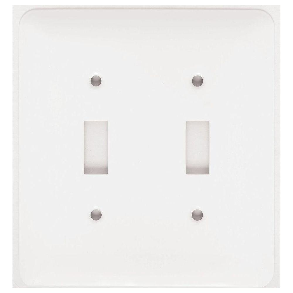 Mulberry White 2 Gang Toggle Wall Plate 1 Pack 76072 The Home Depot