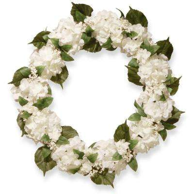 32 in. Cream Hydrangea Wreath