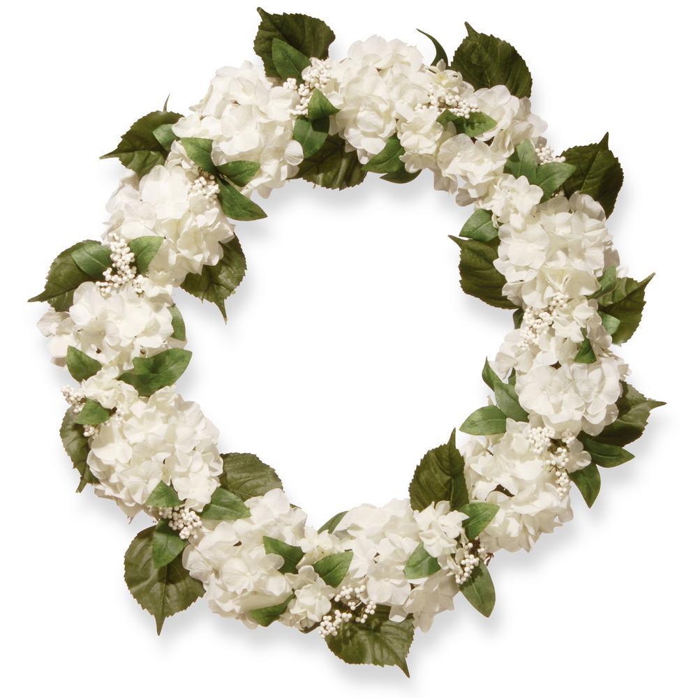32 in. Cream Hydrangea Wreath