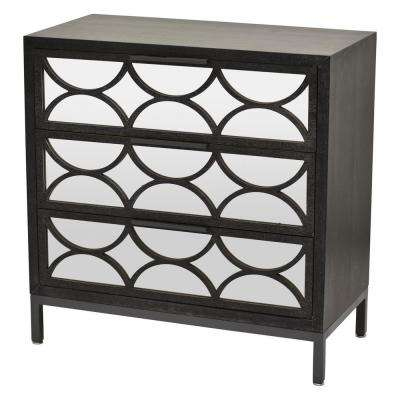 31.75 in. 3-Drawers Black Wood Cabinet