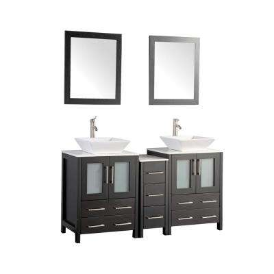 Ravenna 60 in. W x 18.5 in. D x 36 in. H Bathroom Vanity in Espresso with Double Basin Top in White Ceramic and Mirrors