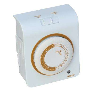 15-Amp 24-Hour Indoor Plug-In Dual-Outlet Programmable Mechanical Timer, White