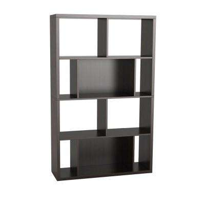 Monaco 4-Shelves Bookcase and Display Case in Espresso