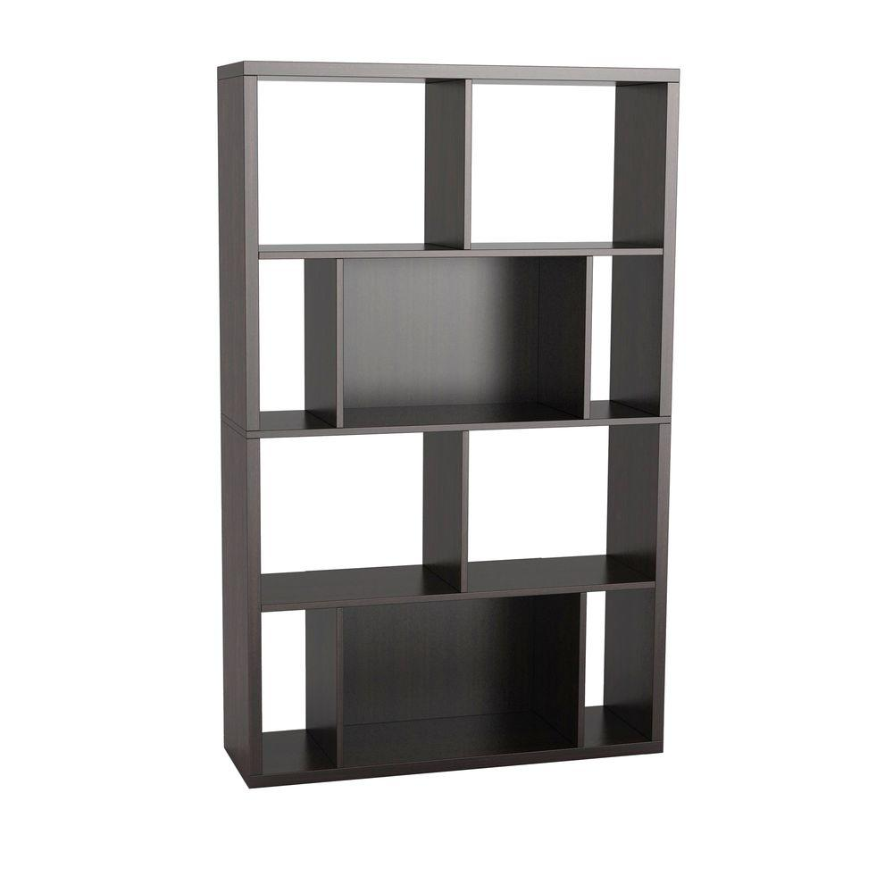 Atlantic Monaco 4-Shelves Bookcase and Display Case in Espresso