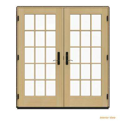 72 in. x 80 in. W-4500 Brown Clad Wood Left-Hand 15 Lite French Patio Door w/Unfinished Interior