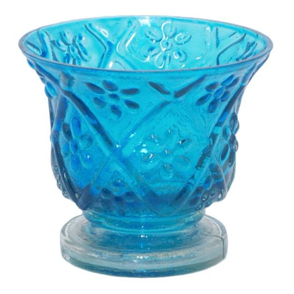Home Decorators Collection Leena 3.5 in. Turquoise Candle Holder